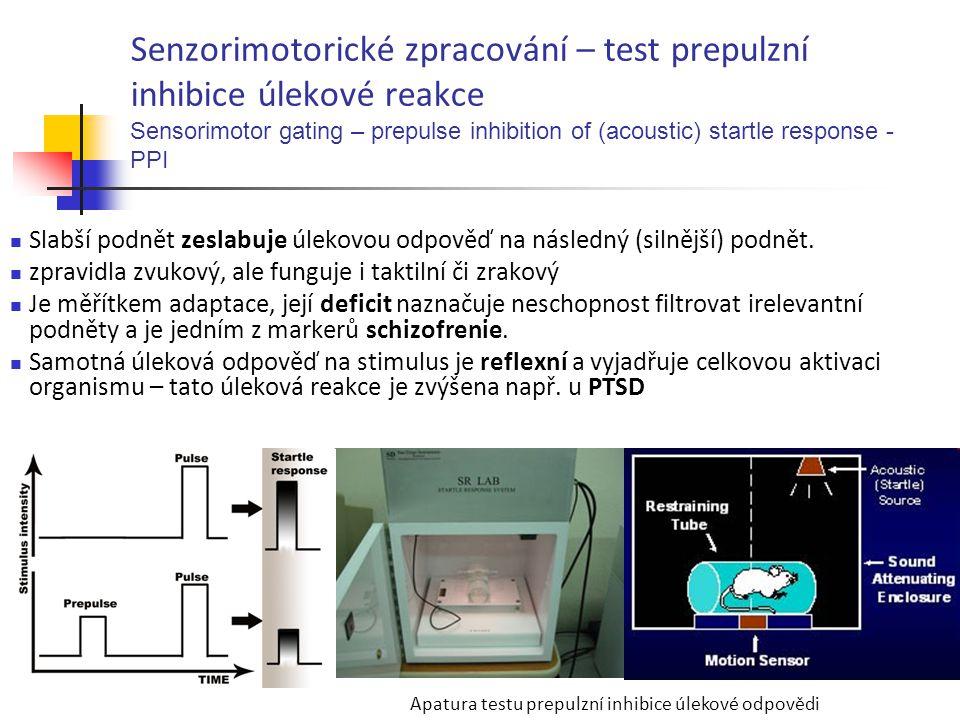 Senzorimotorické zpracování – test prepulzní inhibice úlekové reakce Sensorimotor gating – prepulse inhibition of (acoustic) startle response - PPI