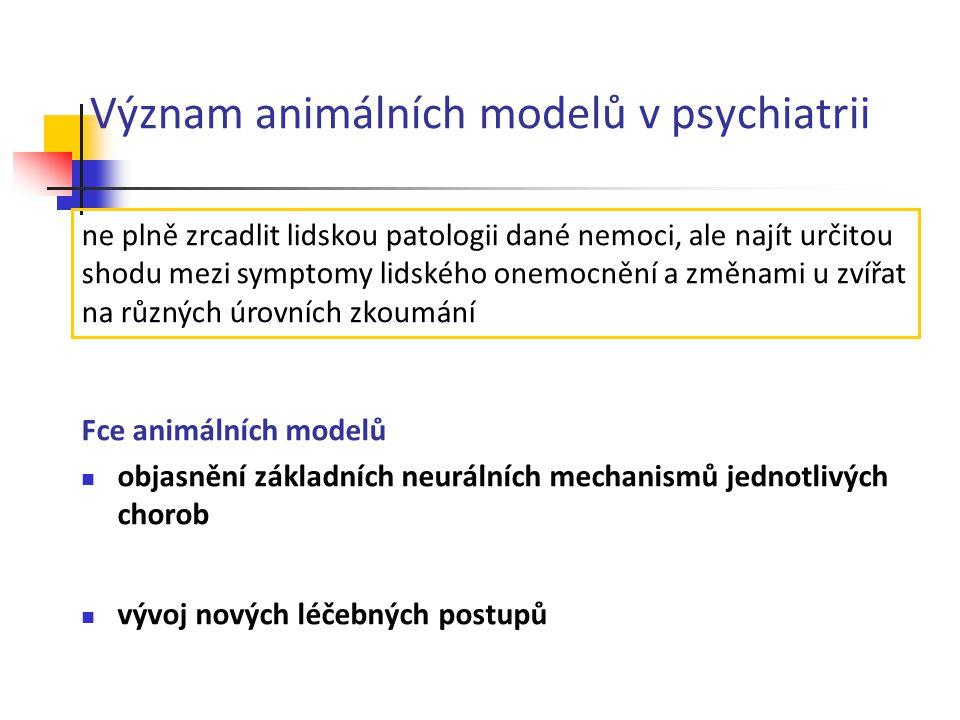 Význam animálních modelů v psychiatrii