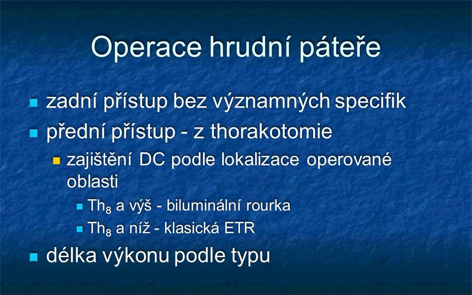 Operace hrudní páteře zadní přístup bez významných specifik