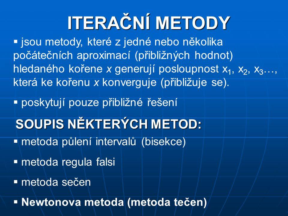 ITERAČNÍ METODY SOUPIS NĚKTERÝCH METOD:
