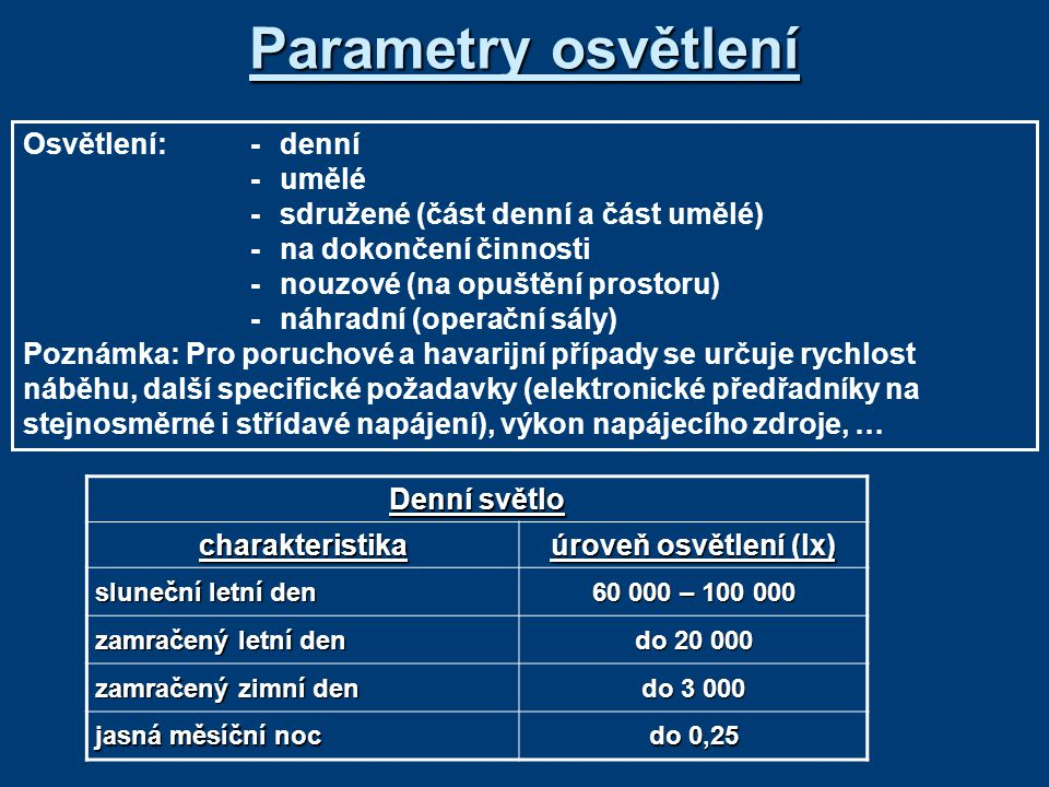 Parametry osvětlení Osvětlení: - denní - umělé
