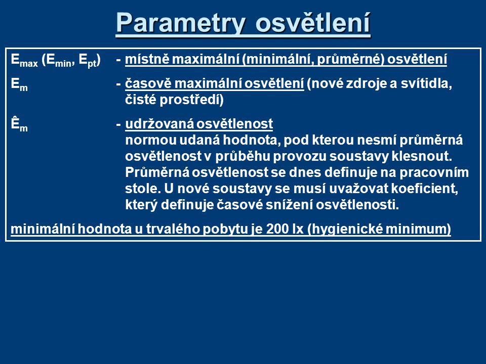 Parametry osvětlení Emax (Emin, Ept) - místně maximální (minimální, průměrné) osvětlení.