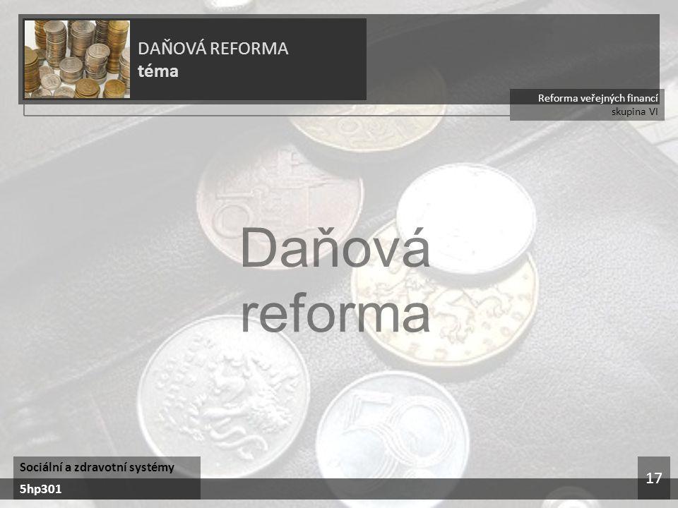 Daňová reforma DAŇOVÁ REFORMA téma 17 Sociální a zdravotní systémy