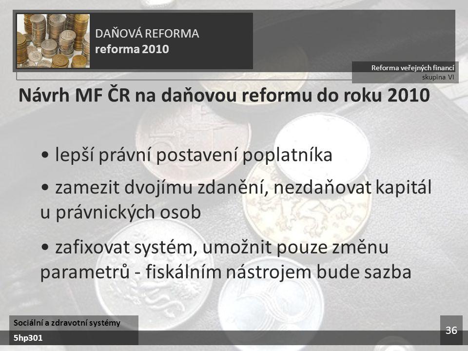 Návrh MF ČR na daňovou reformu do roku 2010