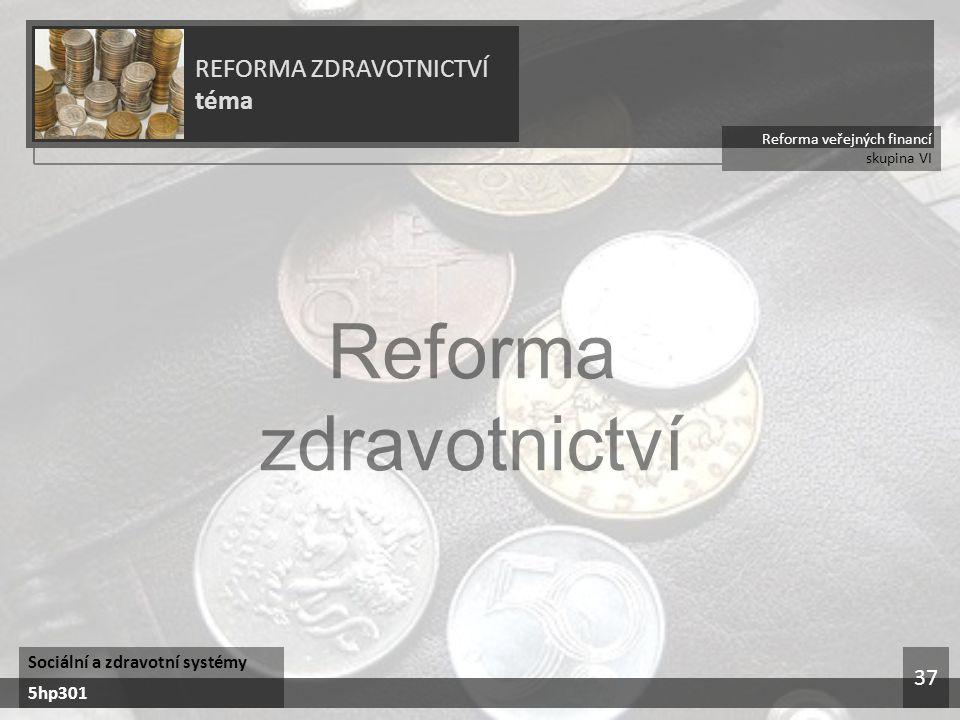Reforma zdravotnictví REFORMA ZDRAVOTNICTVÍ téma 37