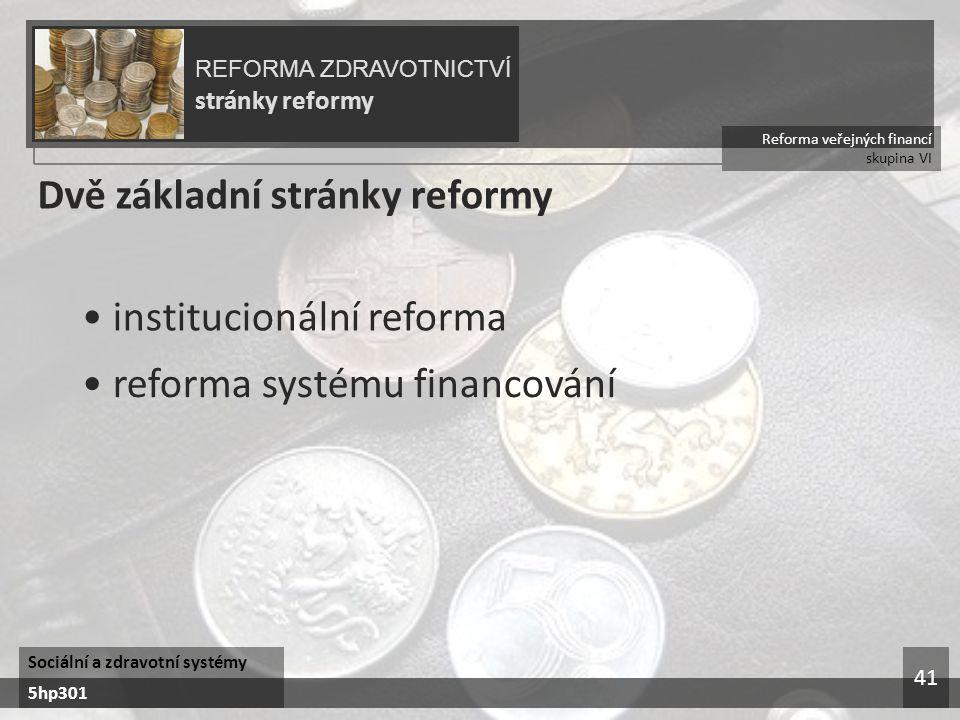 Dvě základní stránky reformy