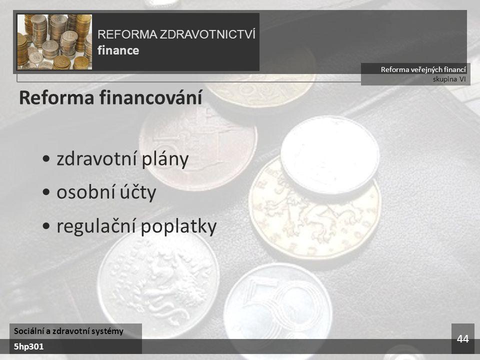 Reforma financování • zdravotní plány • osobní účty