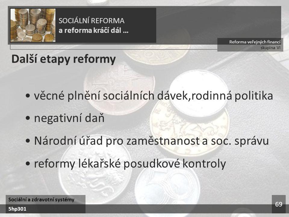 • věcné plnění sociálních dávek,rodinná politika