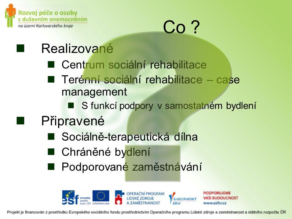Co Realizované Připravené Centrum sociální rehabilitace