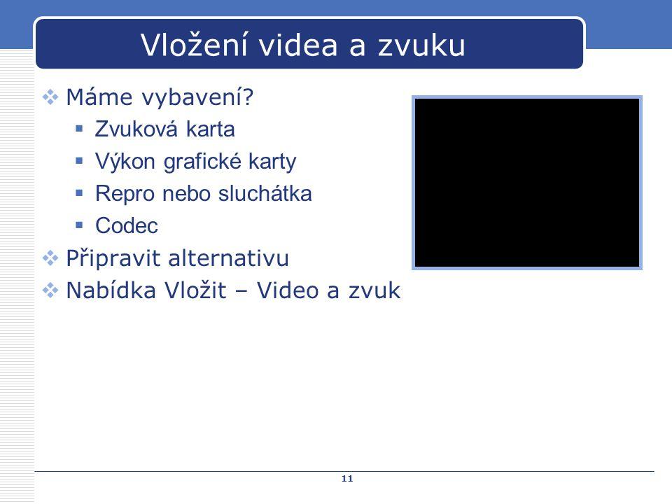 Vložení videa a zvuku Máme vybavení Zvuková karta
