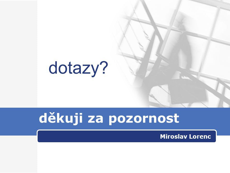 dotazy děkuji za pozornost Miroslav Lorenc
