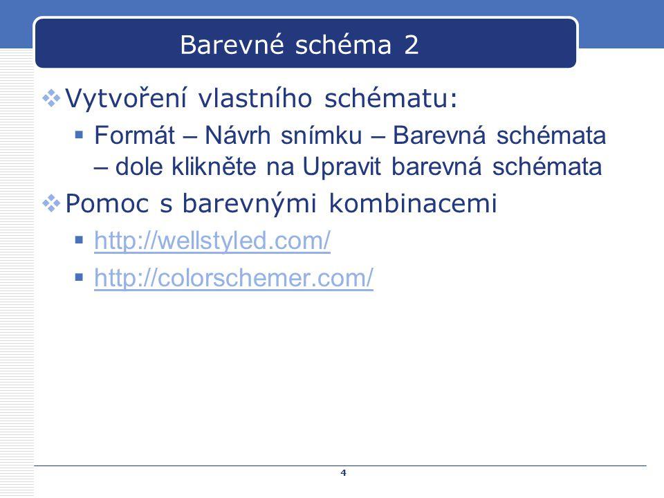 Barevné schéma 2 Vytvoření vlastního schématu: Formát – Návrh snímku – Barevná schémata – dole klikněte na Upravit barevná schémata.