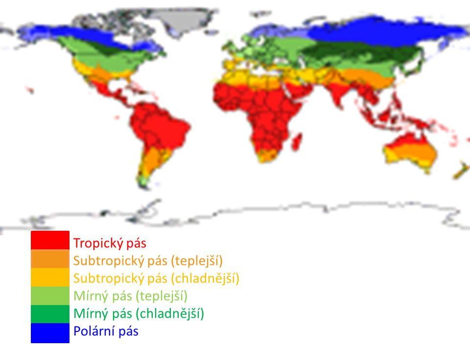 Tropický pás Subtropický pás (teplejší) Subtropický pás (chladnější) Mírný pás (teplejší) Mírný pás (chladnější)