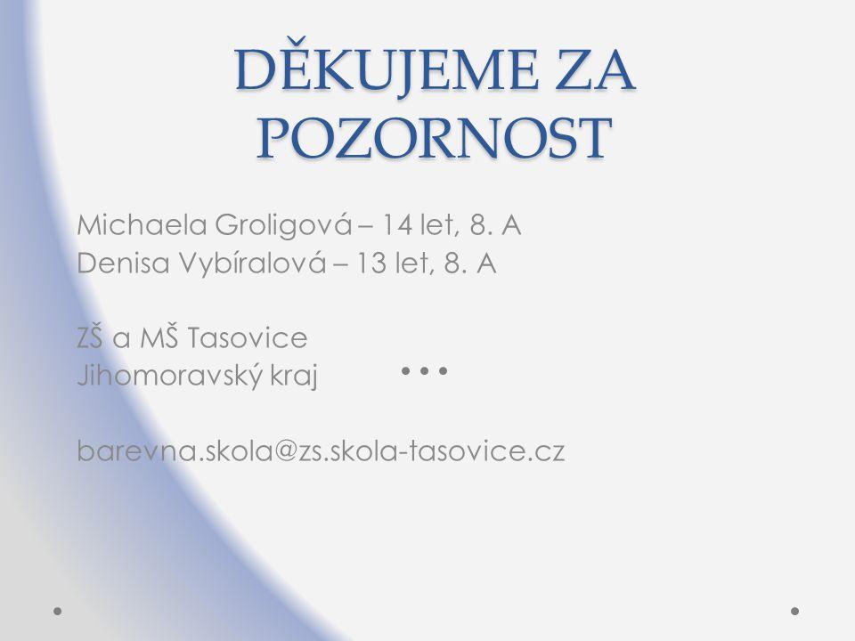 DĚKUJEME ZA POZORNOST Michaela Groligová – 14 let, 8. A
