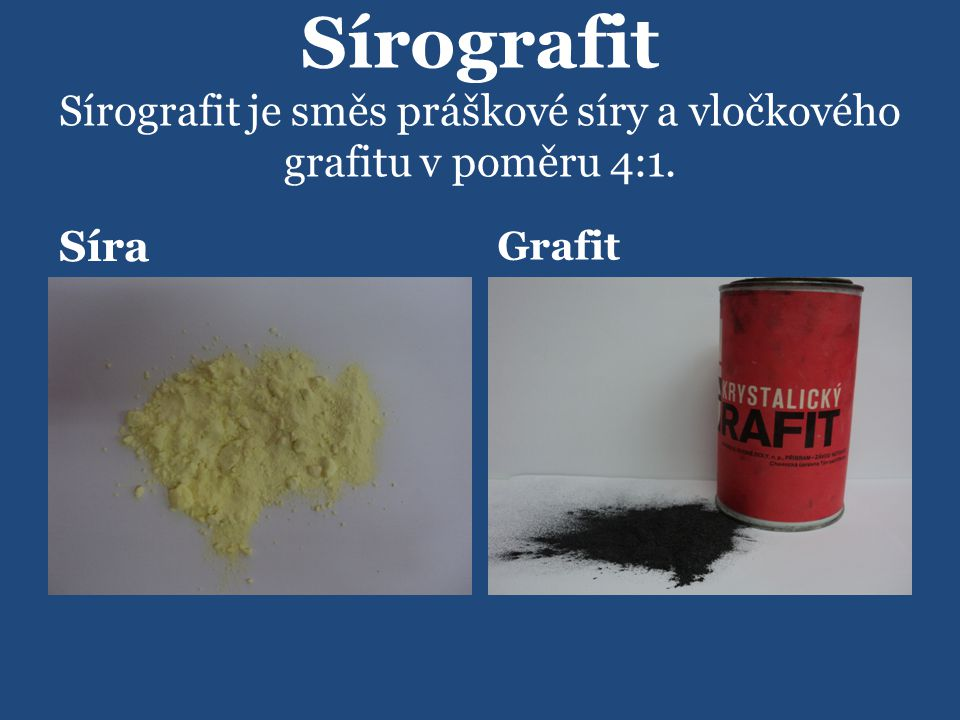 Sírografit Sírografit je směs práškové síry a vločkového grafitu v poměru 4:1.