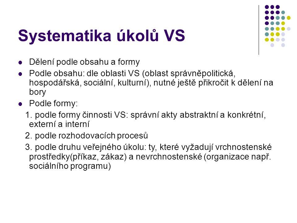 Systematika úkolů VS Dělení podle obsahu a formy