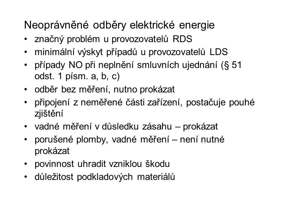 Neoprávněné odběry elektrické energie