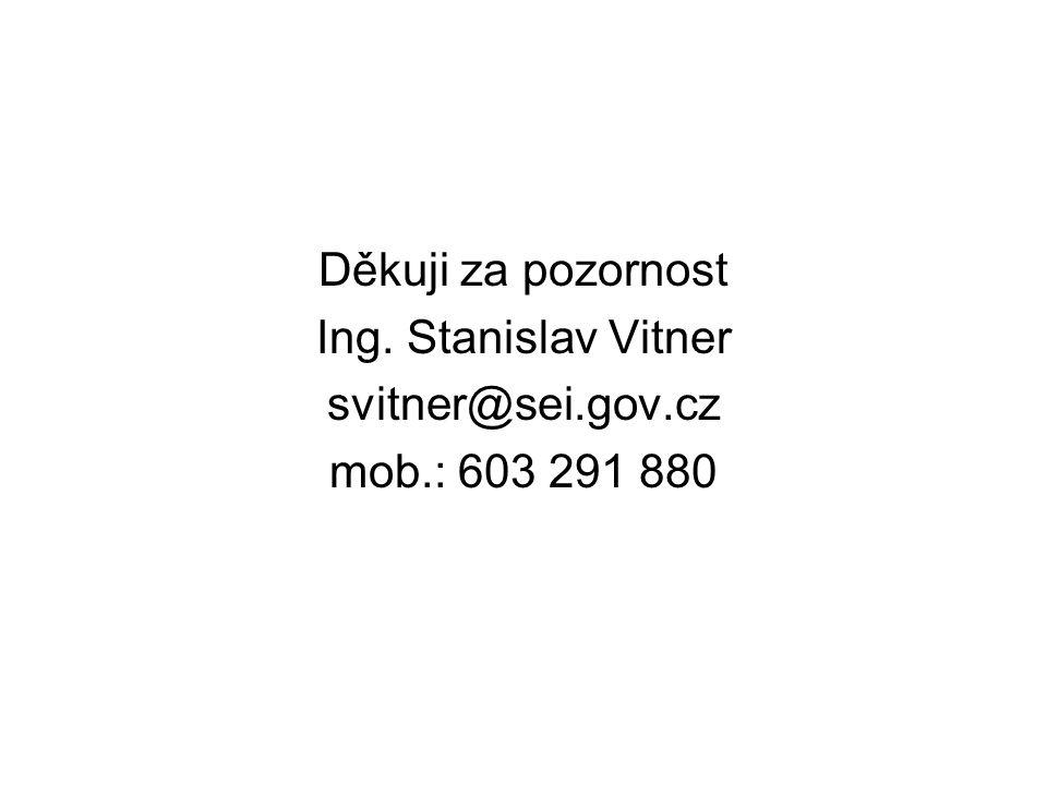 Děkuji za pozornost Ing. Stanislav Vitner svitner@sei.gov.cz mob.: 603 291 880