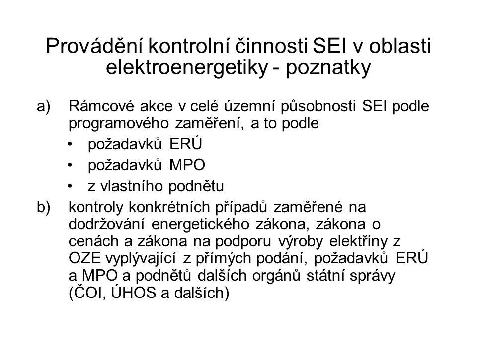Provádění kontrolní činnosti SEI v oblasti elektroenergetiky - poznatky