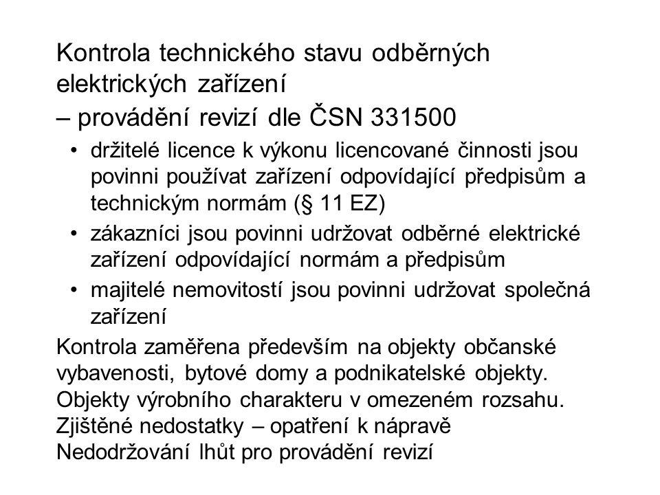 Kontrola technického stavu odběrných elektrických zařízení