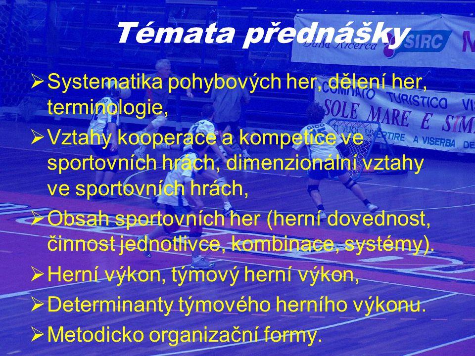 Systematika pohybových her, dělení her, terminologie,