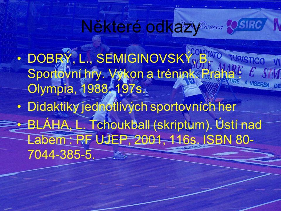 Některé odkazy DOBRÝ, L., SEMIGINOVSKÝ, B. Sportovní hry. Výkon a trénink. Praha : Olympia, 1988. 197s.