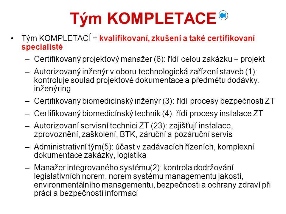 Tým KOMPLETACE Tým KOMPLETACÍ = kvalifikovaní, zkušení a také certifikovaní specialisté.
