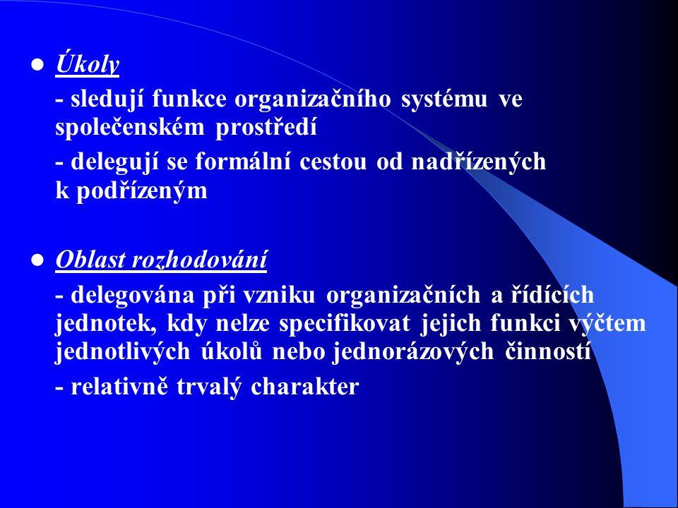 Úkoly - sledují funkce organizačního systému ve společenském prostředí. - delegují se formální cestou od nadřízených k podřízeným.