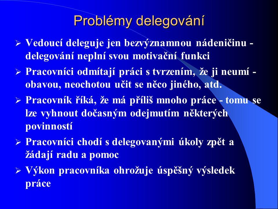 Problémy delegování Vedoucí deleguje jen bezvýznamnou nádeničinu - delegování neplní svou motivační funkci.