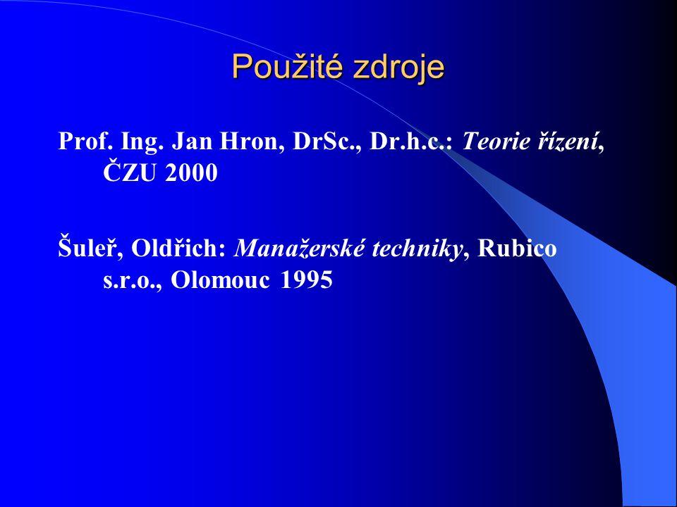 Použité zdroje Prof. Ing. Jan Hron, DrSc., Dr.h.c.: Teorie řízení, ČZU 2000.