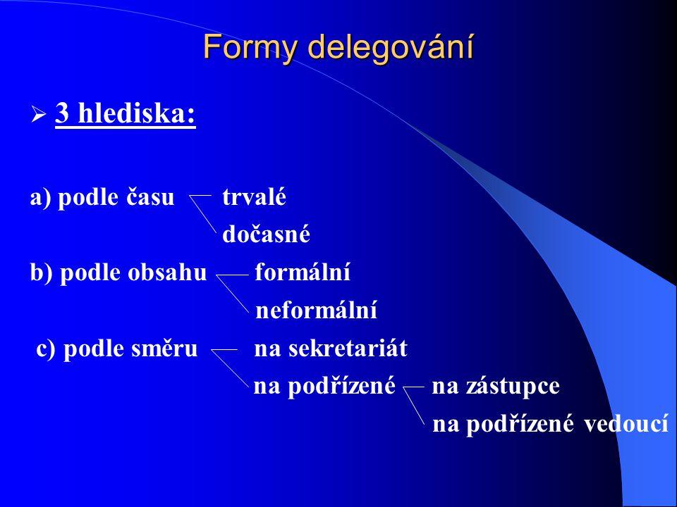 Formy delegování 3 hlediska: a) podle času trvalé dočasné