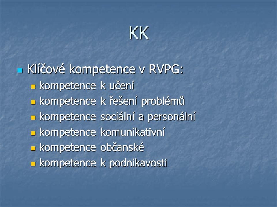 KK Klíčové kompetence v RVPG: kompetence k učení