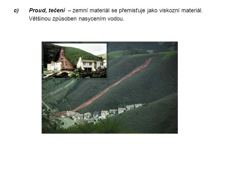 Proud, tečení – zemní materiál se přemisťuje jako viskozní materiál.