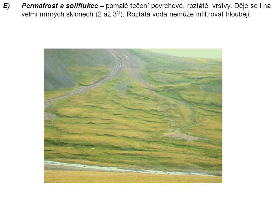 Permafrost a soliflukce – pomalé tečení povrchové, roztáté vrstvy