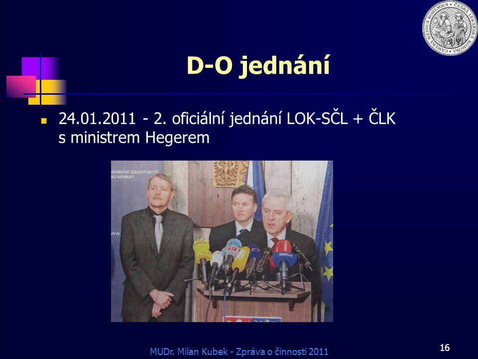 D-O jednání 24.01.2011 - 2. oficiální jednání LOK-SČL + ČLK s ministrem Hegerem