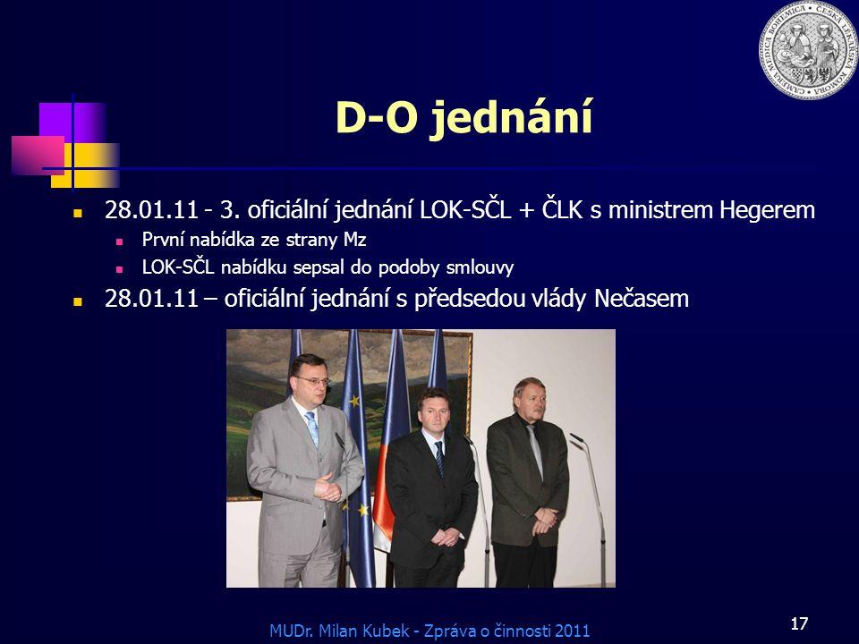 D-O jednání 28.01.11 - 3. oficiální jednání LOK-SČL + ČLK s ministrem Hegerem. První nabídka ze strany Mz.