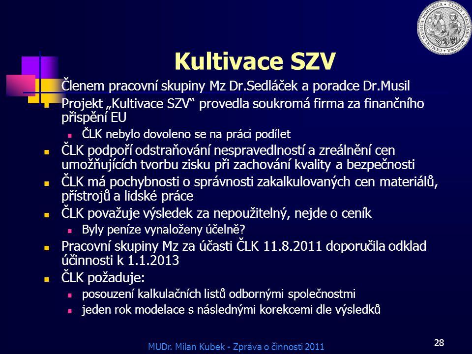"""Kultivace SZV Členem pracovní skupiny Mz Dr.Sedláček a poradce Dr.Musil. Projekt """"Kultivace SZV provedla soukromá firma za finančního přispění EU."""