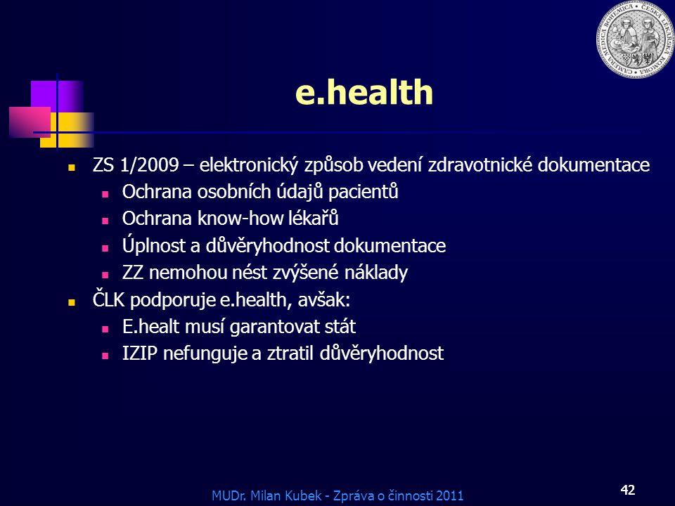 e.health ZS 1/2009 – elektronický způsob vedení zdravotnické dokumentace. Ochrana osobních údajů pacientů.