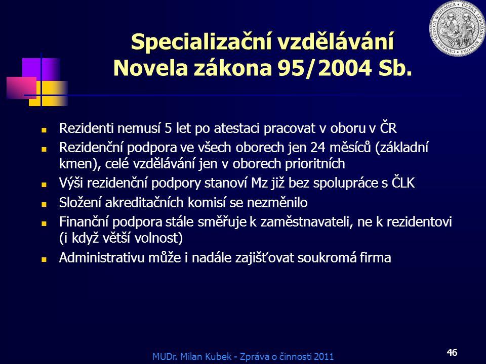 Specializační vzdělávání Novela zákona 95/2004 Sb.