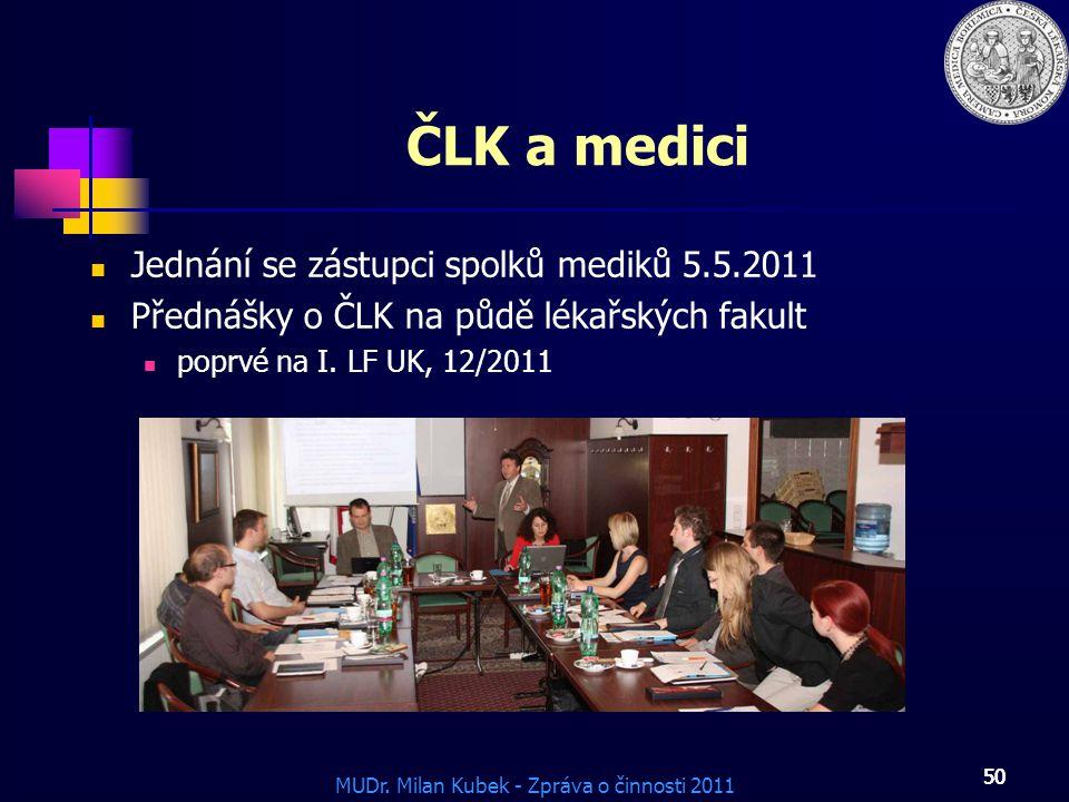 ČLK a medici Jednání se zástupci spolků mediků 5.5.2011