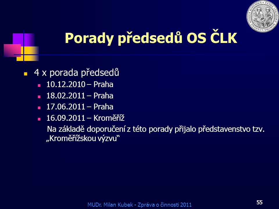 Porady předsedů OS ČLK 4 x porada předsedů 10.12.2010 – Praha