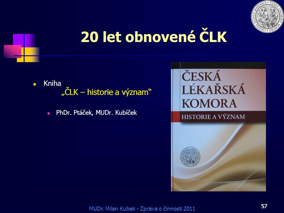 """20 let obnovené ČLK Kniha """"ČLK – historie a význam"""