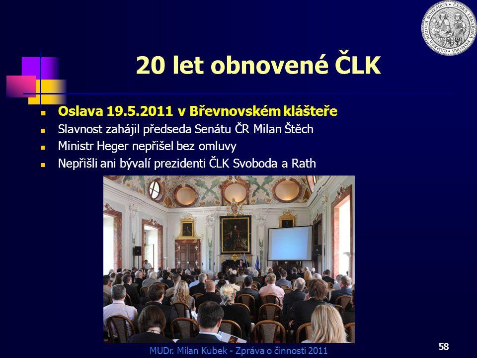 20 let obnovené ČLK Oslava 19.5.2011 v Břevnovském klášteře