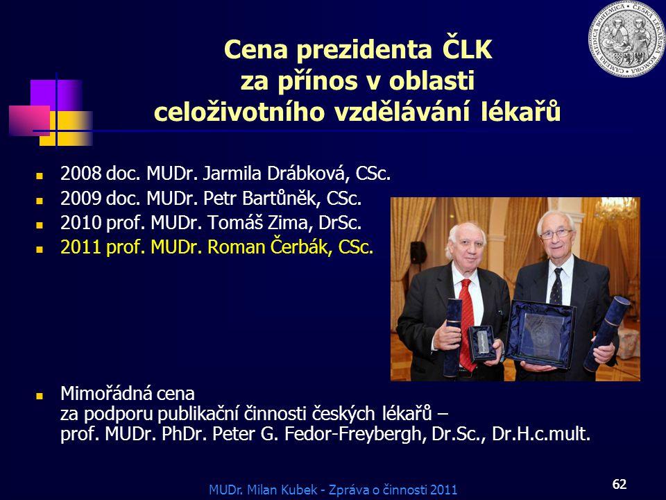 Cena prezidenta ČLK za přínos v oblasti celoživotního vzdělávání lékařů