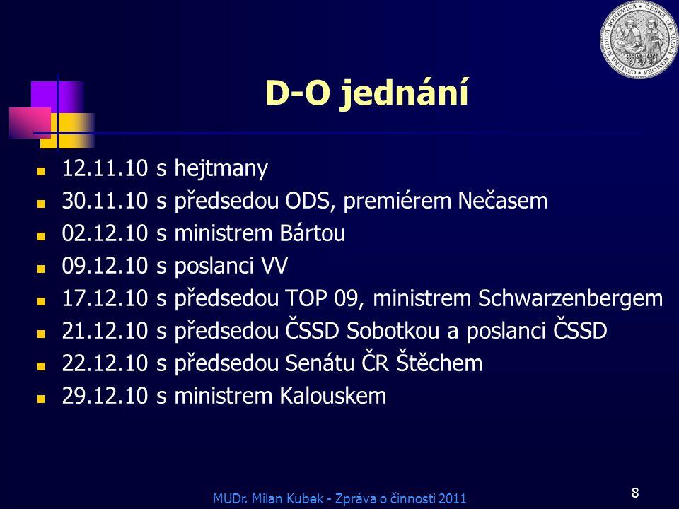 D-O jednání 12.11.10 s hejtmany. 30.11.10 s předsedou ODS, premiérem Nečasem. 02.12.10 s ministrem Bártou.