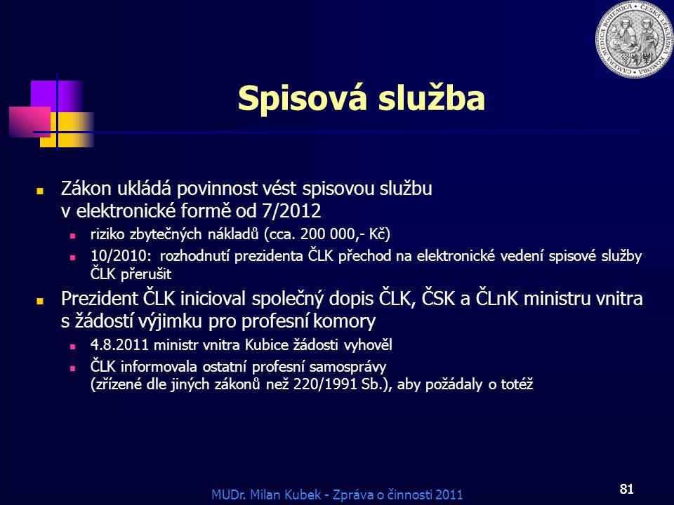 Spisová služba Zákon ukládá povinnost vést spisovou službu v elektronické formě od 7/2012.