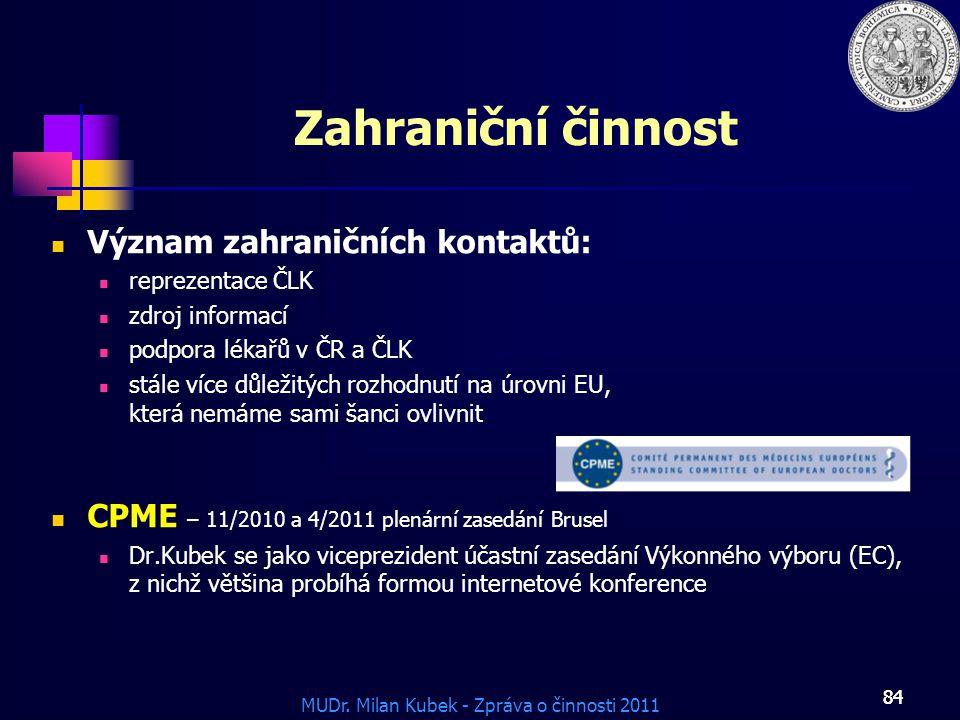 Zahraniční činnost Význam zahraničních kontaktů: