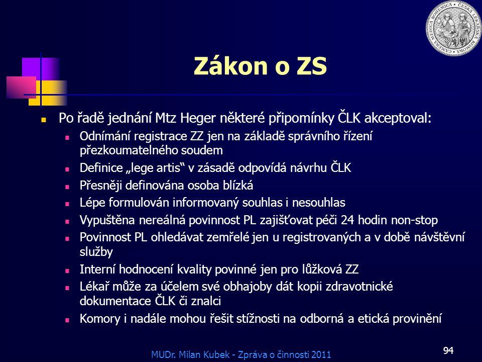 Zákon o ZS Po řadě jednání Mtz Heger některé připomínky ČLK akceptoval: