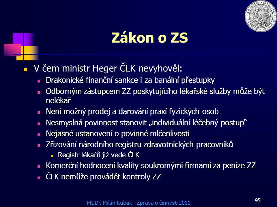 Zákon o ZS V čem ministr Heger ČLK nevyhověl: