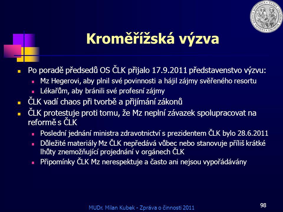 Kroměřížská výzva Po poradě předsedů OS ČLK přijalo 17.9.2011 představenstvo výzvu: